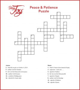 Cross word puzzle about peace theme