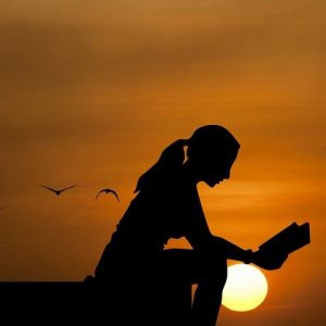Women Reading Book At Sunset