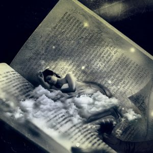 Fantasy-type Image Of Women Sleeping On A Cloud In A Book