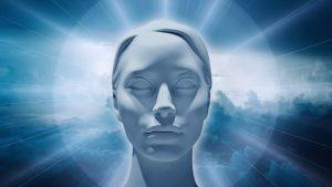 Statue head with blue aura
