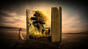 fantasy image of open book with a tree and forest portrayed.