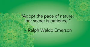 """Adopt the pace of nature: her secret is patience."" - Ralph Waldo Emerson"