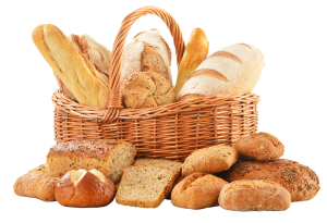 handled basket overflowing with loaves of bread