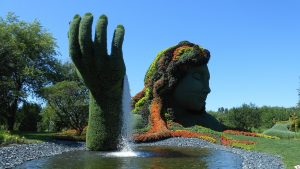 Still pond with topiary hand and face
