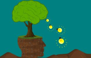 Cartoon image of a tree depicted as a brain and light bulb icons falling out like ideas.