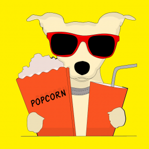cartoon dog with sunglasses holding a box of popcorn and a drink