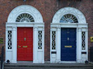 One red door. One blue door