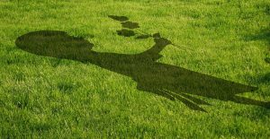 shadow on grass of girl holding a flower
