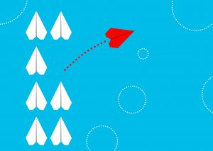 cartoonn of 7 paper airplanes witone red one flying away to be differenth
