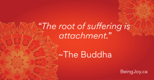 """red mandala with words: """"The root of suffering is attachment."""" ~The Buddha"""