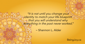 """yellow mandala with words - """"It is not until you change your identity to match your life blueprint that you will understand why everything in the past never worked."""" ~ Shannon L. Alder"""
