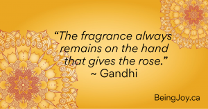"""Yellow mandala with words - The fragrance always remains on the hand that gives the rose."""" ~ Gandhi"""