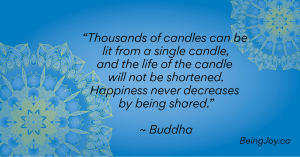 "blue mandala with quote - ""Thousands of candles can be lit from a single candle, and the life of the candle will not be shortened. Happiness never decreases by being shared."" ~ Buddha"