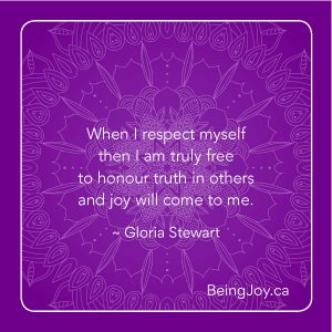 violet mandala with quote - When I respect myself them I am truly free to honour truth in others and joy will come to me. - Gloria Stewart
