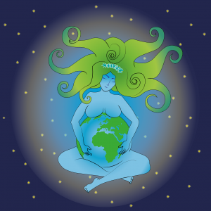 A green and blue illustration of mother earth holding the earth in her hands and lap