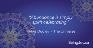 "Quote over indigo mandala - ""Abundance is simply spirit celebrating."" ~Mike Dooley – The Universe"