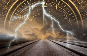 Surreal image looking down a train track leading int a thunder and lightening cloud, with a clock overlaid