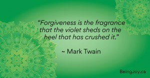 """Quote over top of green mandala - """"Forgiveness is the fragrance that the violet sheds on the heel that has crushed it."""" ~ Mark Twain"""