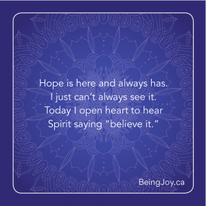 """Gloria's quote over blue mandala - Hope is here and always has. I just can't always see it. Today I open heart to hear Spirit saying """"believe it."""""""