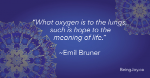 """quote over indigo mandala - """"What oxygen is to the lunghs, such ias hope to the meaning of life."""" - EMil Bruner"""