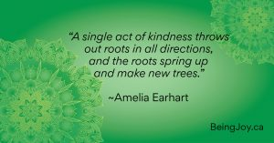 """quote over green mandala - """"A single act of kindness throws out roots in all directions, and the roots spring up and make new trees."""" ~Amelia Earhart"""