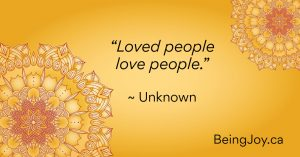 quote over yellow mandala - Loved people love people. - Anonymous