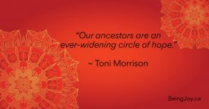 """quote over red mandala - """"Our ancestors are an ever-widening circle of hope."""" ~ Toni Morrison"""