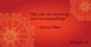 """over red mandala - You can do anything but not everything."""" - David Allen"""