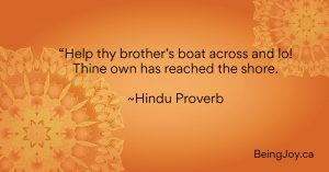 """quote over orange mandala - """"Help thy brother's boat across and lo! Thine own has reached the shore. ~Hindu Proverb"""